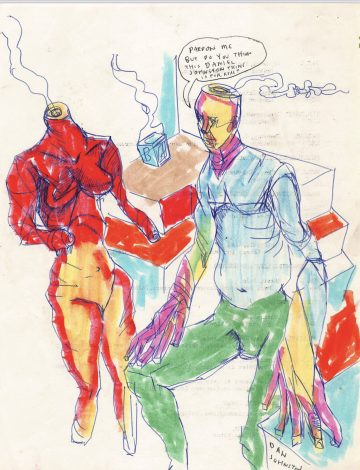 Daniel Johnston, Pardon Me…, 1970s – 80s. Marker and ball point pen on paper. 8.5 x 11 in. Courtesy of Ro2 Art.